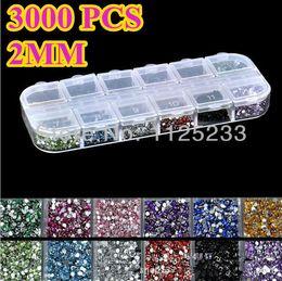 Wholesale Nail Art Acrylic Gems - Wholesale-New 3000pcs Mix 12 Color 2mm Circle Beads Nail Art Tips Rhinestones Glitters Acrylic UV Gel Gems Decoration with Hard Case J14