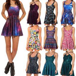 Wholesale Dresses Galaxy - Wholesale-Galaxy Dress Skater Dresses 2015 Summer Dress Black Milk Galaxy Dress for Women S M L XL 2XL Plus Size Free Shipping