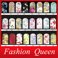 Wholesale Decals Nail Art Sticker - Wholesale-Nail Art Water Stickers,10sheets lot Fashion Flowers Nail Tips Wraps,Full Cover Water Transfer Nail Decals Decoration Tools