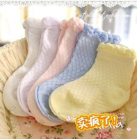 Wholesale Children Plain Stocking - Wholesale-20 pieces=10 pairs lot baby socks Baby plain fishnet stock 100% cotton summer thin mesh socks children socks girl kids socks