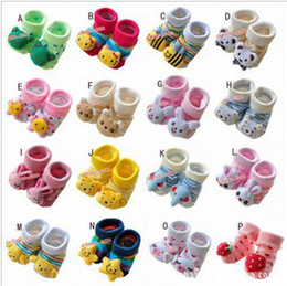 Wholesale Toddler Doll Shoes - Wholesale-Infants CUTE 3D cartoon animal Socks Baby Prevent slippery Modelling Stereo Toddler antislip Sox Doll Sox Newborn shoes