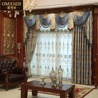 Wholesale Embroidery Curtain Fabric - Wholesale-Luxury - precision high density Embroidery damask curtain fabric dodechedron fashion thickening of finished products free shipping