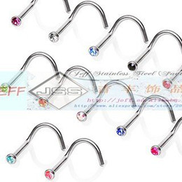 Wholesale Nose Spiral - Wholesale-Free Shipping hot sale stainless steel Spiral bar with one stone nose piercing stud mixed colors 60pcs lot wtih box package