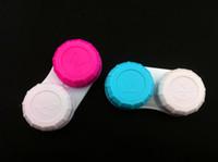 Wholesale Blue Contacts Lenses - Wholesale-Free shipping contact lens case,100pcs contact lense case