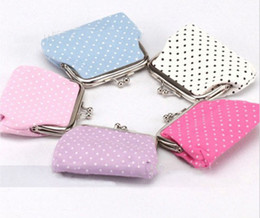 Wholesale small cloth purses - Wholesale- New Arrival 2015 Small Dot Zero Printed Girl's Coin Purses Wallet Bag Pouch Brand Lady Cloth Mini Wallet With Metal Buckle