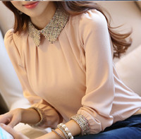 ingrosso camicia chiffona coreana delle signore-All'ingrosso-2015 nuova moda coreana signora manica lunga camicia di chiffon di pizzo più il formato s-3xl peter pan collare lanterna manica donne camicetta LTMC328