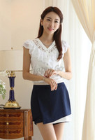 Wholesale Office Girl White Shirt - Wholesale-Hot Sale! New Women Clothing Girl Casual Short Sleeve Chiffon Blouse & Shirt Office Lady Ruffles Formal Top b26 SV003844