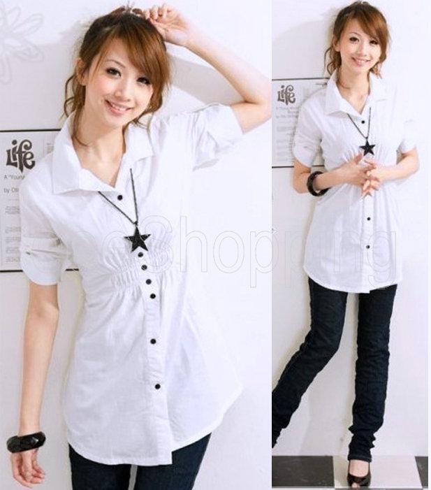 Best Wholesale Q078 Women Shirt Ladies Slim Waisted Button Down ...