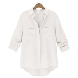 Wholesale Womens Collared Blouse - Wholesale-Plus Size S-XXL 2015 New Fashion Womens Loose Casual Apparent Linen Buttons Long Sleeve Turn-down Collar Shirt Tops Solid Blouse
