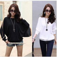 Wholesale Long Batwing Tops - Wholesale-2015 New Fashion Women Chiffon Loose Long Batwing Sleeve Shirt Plus Size Top Blouses Casual Roupas Blusas Femininas