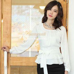 Wholesale Silk Chiffon Women Blouses - Wholesale-New Arrival Women's Career Ruffled Hem Long Sleeve Chiffon Blouse Silk Office Lady Tops clothing Plus Size Blouses B16
