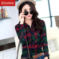 Wholesale Ladies Shirt Size 22 - Wholesale-2015 new Fashion 22 colors girl's plaid flannel shirt female long-sleeved plaid shirt ladies large size women's Tops S