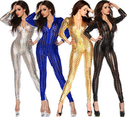 Wholesale Sexy Clubwear Nylon - Wholesale-4 Colors 2015 Newest! Sexy Clubwear, Women's Party Evening Bandage Bodysuit, Hole Sexy Punk Rock Club Jumpsuit For Ladies
