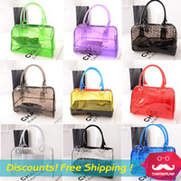 Wholesale Handbag Transparent Crystal - Wholesale-HOT!2015 women messenger bags Transparent bag jelly crystal beach bags Candy colors shoulder bag bolsas handbags Swept the world