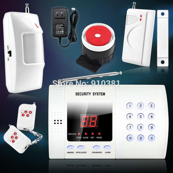 Wholesale-NEW Wireless Garantie 99-Zone Voice Home Security Alarm System Drahtlose PSTN Einbruch Haus Alarm 2pcs / lot