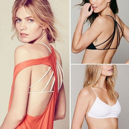 Wholesale Bra Tops Tanks - Wholesale-Sexy Women Padded Bra Tank Tops Plunge Bustier Bra Crop Top Bralette Blouse Go