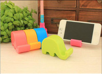 Wholesale Cute Cell Phone Stands - Wholesale-Colorful Cute Elephant Phone Stand plastic Cell Phone Holder For iPhone Ipad SAMSUNG Note3 Stand Mobile Phone Table PC Base