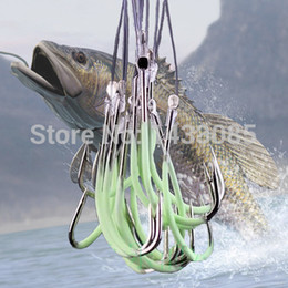 Wholesale Fly Online - Wholesale-30pcs Lure Fishhook (with Fishing Line) Luminous Barbed Hooks Artificial Pesca Fishing Tackle Accessories Binnel Online