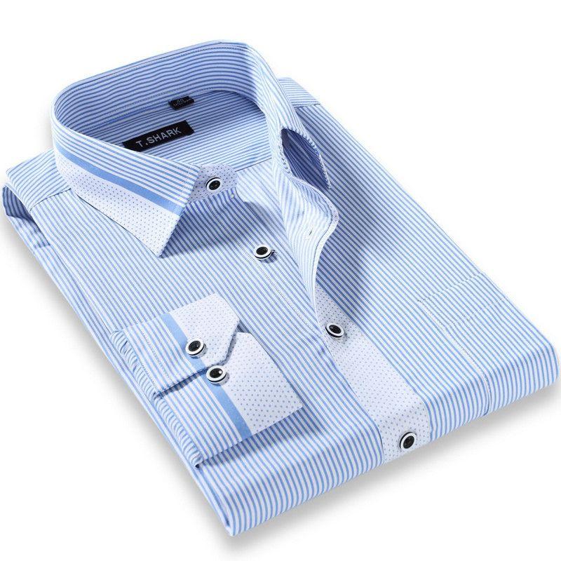 Modal Uzun Kollu Çizgili Erkek Şık Gömlekler Ücretsiz Kargo ile Toptan-Yeni Yüksek Kalite Erkekler Casual Slim Fit Gömlek Pamuk