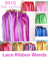 Wholesale of LACE Wedding Ribbon Wands Wedding Confetti Twiring Stream Ribbon Sticks Wands with Bells JCO RA01