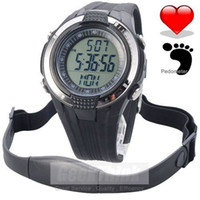 Wholesale Monitor Strap - Wholesale-Chest Strap Heart Rate Monitor Calories Pedometer Digital pulse Sports Watch LCD Exercise Memory Mode Outdoor Water resist