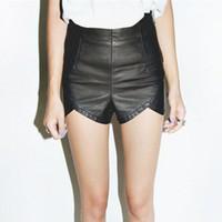 Wholesale Sty Nda - Wholesale-Small sty nda high waist leather shorts PU small shorts small placketing leather#A034