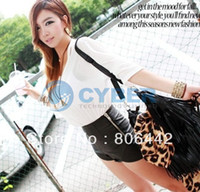Wholesale Cheapest Leather Shorts - Wholesale-Cheapest Fashion Women's Slim Black Zip Synthetic Leather Asymmetric Shorts Casual Club Wear 25