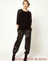 Wholesale Women Faux Leather Joggers - Wholesale-Free Shipping Women black loose pu leather pants sweatpants joggers Plus size pants high street fashion women pants Harem Pants