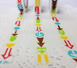 Wholesale Moustache Stickers - Wholesale-66M roll Kawaii colorful arrow moustache Pattern Paper tape scrapbooking stickers