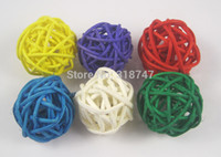 Wholesale Wicker Balls Wholesale - Wholesale-Free shipping Wholesale 3cm mixed 7 colors woven Wicker ball home decoration (48pcs bag) 024017(1)