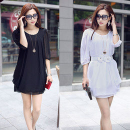 Wholesale Tunic Batwing Summer Dress - Wholesale-New 2015 Women Summer Dress Chiffon Batwing Sleeve Vestidos Belt for Gift Tunic Loose Party Dresses Casual Dress Plus Size M-4XL