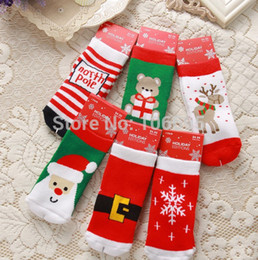 Wholesale Pair Lamaze - Wholesale-Socks Baby Lamaze 26g 1-3 Years 6 Pairs lot Winter Baby Cotton Cartoon Snow Terry Towel Socks Thicken Kid's Christmas Ruc016