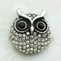 Wholesale Owl Charm Metal - Wholesale- 18mm OWL metal snap button jewelry for bracelet (fit 18mm snap)