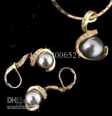 wedding jewelry 18K GP Pretty 10*12mm southsea Gray shell pearl earring pendant necklace set