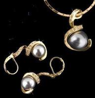 bonitas conchas al por mayor-joyería de la boda 18K GP Pretty 10 * 12mm southsea Gris cáscara perla pendiente colgante collar conjunto