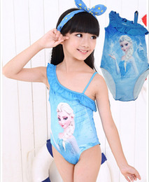 Wholesale Boys Swimmers - Wholesale-1 Piece Free shipping In Stock NEW Snow Queen Elsa Girls Lined One-Piece Summer Swim Wear Swimmer Bathers Swimsuits Swimwear