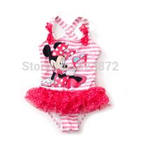 Wholesale Minnie Mouse Swim Suits - Wholesale-Free shipping New Minnie Mouse Swimwear bathing suits children swimwear kids one piece swimsuit for girls UV swim wear