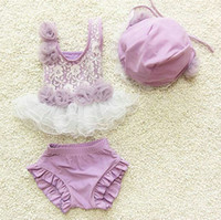Wholesale Infant Girls Bathing Suits - Wholesale-3pcs Set New Fashion Lace Baby Girl Toddler Swimming suit  cap Infant Baby Swimwear Bikini Two Piece Bathing Tutu wear for 6M~7y