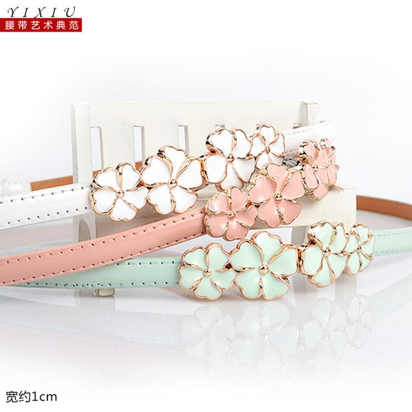Wholesale-2015 2pcs Wild Korean fashion sweet and cute colorful cheap patent leather shiny lady leather belts