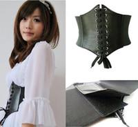 cinch cinto corset venda por atacado-Venda por atacado-selljimshop Womens senhoras de couro Wrap em torno de laço espartilho Cinch cintura larga cinto presente jimshopping
