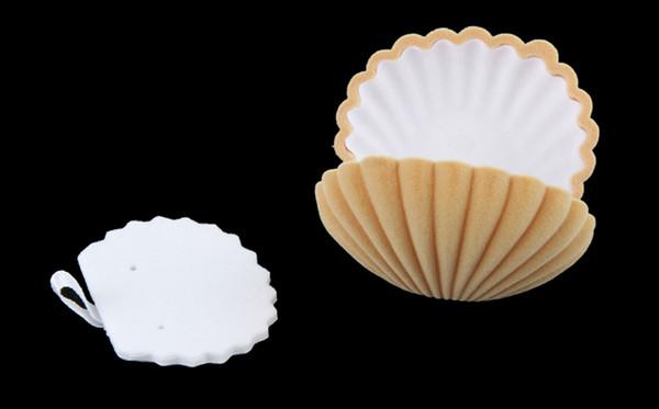 Wholesale-New Fashion Elegant Sea Shell Form Beflockung Ring Boxen Anhänger Medaillon Ohrringe Schmuck Fall Flip