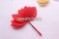 Wholesale Rose Gold Mosaic - Wholesale-Free shipping artificial Rose leaves gold leaf mosaic of leaves DIY home decoration silk flower leaves 11 colors for selection