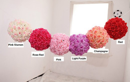 Wholesale Compact Ball - Wholesale-25cm diameter High compacted wedding Rose Ball ,artificial hanging rose ball, party decoration silk flower ball, Free shipping