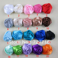 Wholesale Mixed Satin Ribbon - Wholesale-Mixed 20 color 4CM 200PCS LOT Beauty Assorted Colours DIY ornament Satin Flower   Hair Accessories   Ribbon silk flower