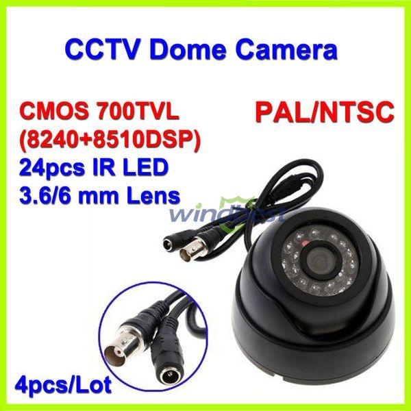 Wholesale-4PCS/Lot Surveillance 24 IR LED Color CMOS 700TVL 3.6mm IR Indoor Security Mini Dome CCTV Camera Free shipping Drop shipping