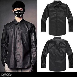 Fermeture À Glissière Pas Cher-Gros-Hip hop Hommes chemise en faux cuir de mode de vêtements col rabattu côté décontracté zipper Allonger HOOD PAR AIR chemises sport noir