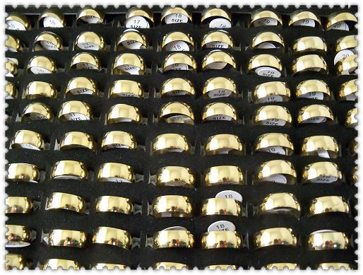 Кольца нержавеющей стали моды золота ширины 7.5mm полируя