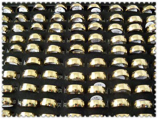 Anillos de acero inoxidable pulidos de la placa de oro de la moda de 7.5mm
