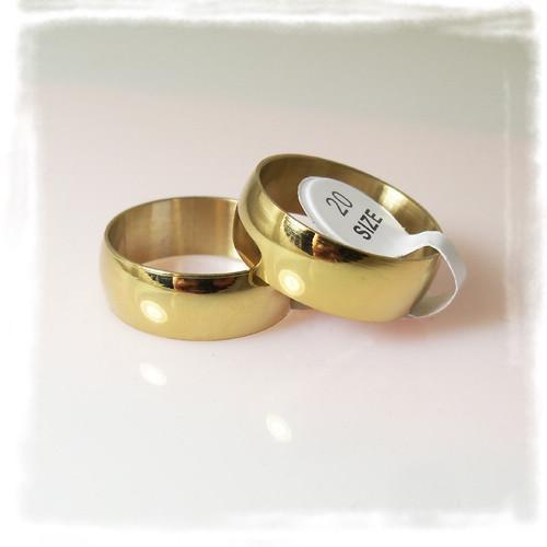 7.5mm Breedte Mode Goudplaat Polijsten Roestvrijstalen Ringen