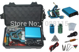 Wholesale Tattoo Kits For Cheap Beginner - Wholesale-Tattoo Kit Professional with Best Quality Permanent Makeup Machine For Tattoo Equipment Blue Cheap Tattoo Kit